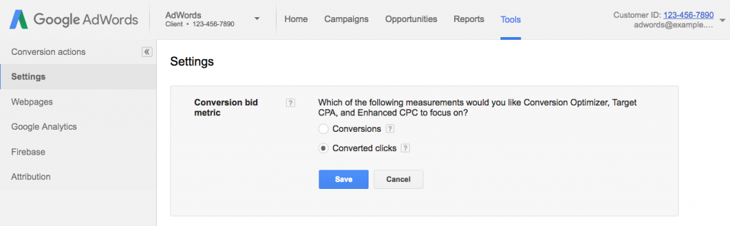 Adwords Converted Clicks option