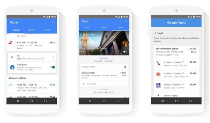 Google flights and travel