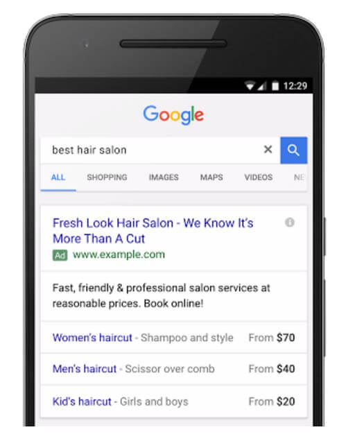 Google price extensions