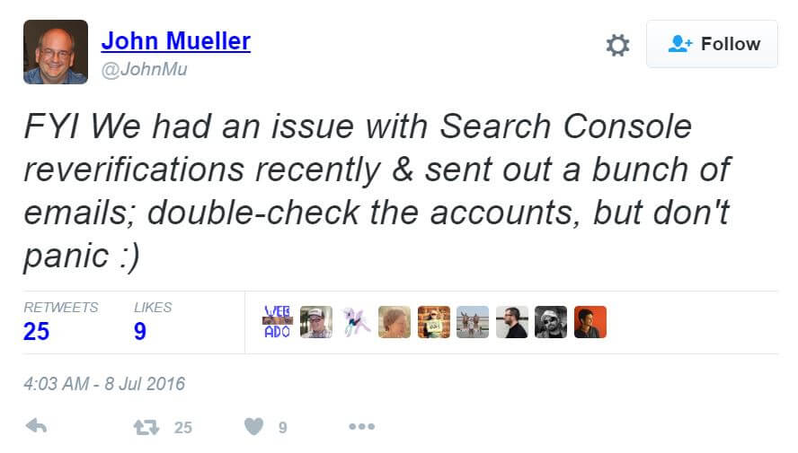 John Mueller Tweet Search Console