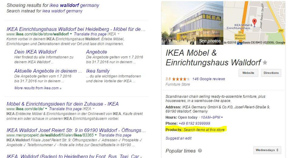 Local inventory in knowledge graph