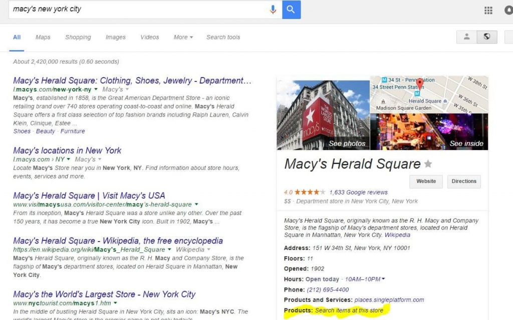 Local Products in Knowledge Graph