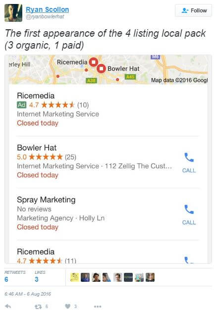 Ads in Google Local Three Pack