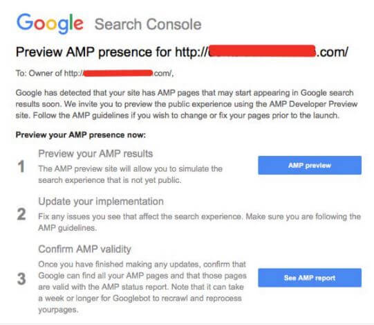 Google Search Console Notification
