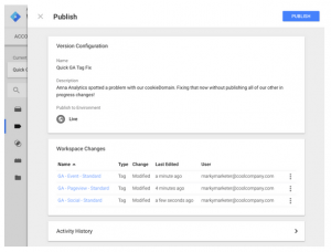 Workspaces - Google Tag Management