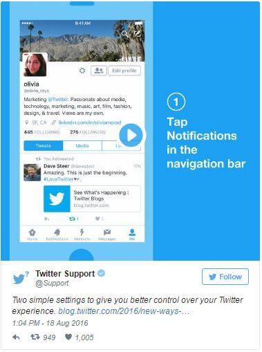 Twitter Notifications in navigation