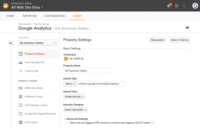 Google Analytics property transfer