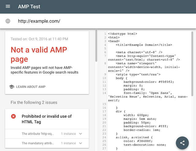 Updated Amp Validation Tool Google