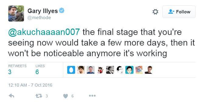 Gary Illyes Penguin 4.0 tweet