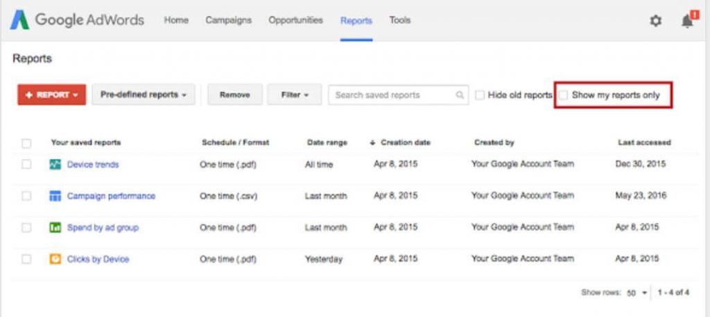 Google Adwords Report Sharing