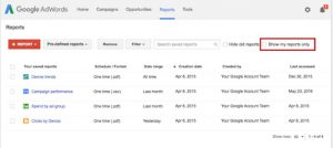 Google Adwords Report Sharing