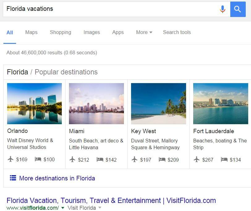 Google Vacation Carousel