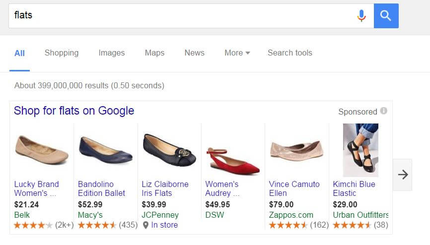 Google Product Listing Carousel