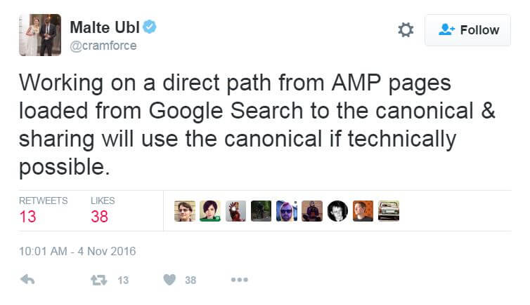 Google AMP URLs sharing tweet